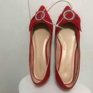 Metaphor Red Flat Suede Shoes Size 9